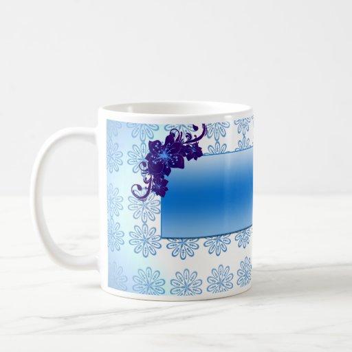 Navy blue and sky blue floral wedding gift coffee mug