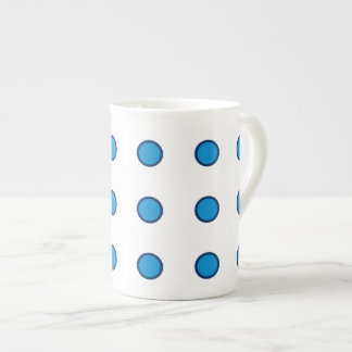 Navy Blue and Summer Blue Polka Dots on White Tea Cup