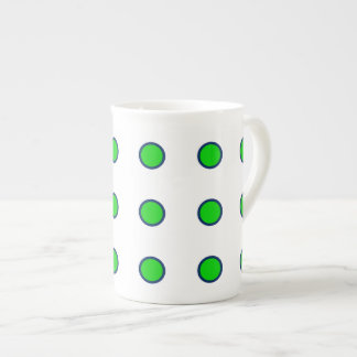 Navy Blue and Summer Green Polka Dots on White Tea Cup