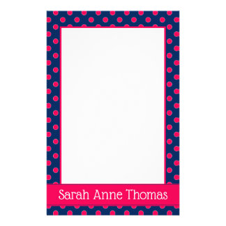 Navy Blue and Summer Pink Polka Dot Personalized Stationery