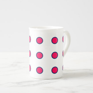 Navy Blue and Summer Pink Polka Dots on White Tea Cup