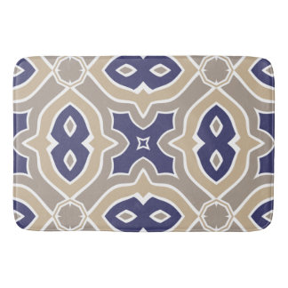 Navy Blue and Taupe Moroccan Bath Mat