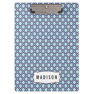 Navy Blue and Turquoise Ikat Pattern Monogram Clipboard