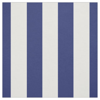 "Navy Blue and White 1.5"" Stripes Pattern Fabric"