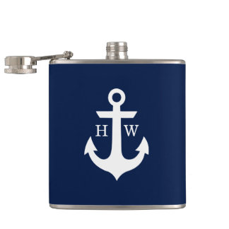 Navy Blue and White Anchor Monogram Hip Flask