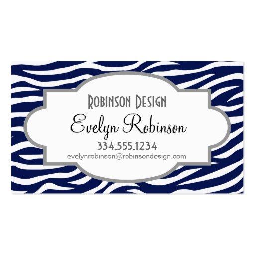 Navy Blue and White Animal Print Zebra Stripes Business Card Templates