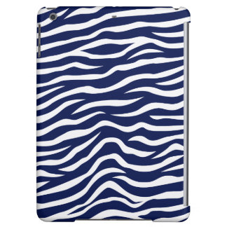 Navy Blue and White Animal Print Zebra Stripes iPad Air Cases