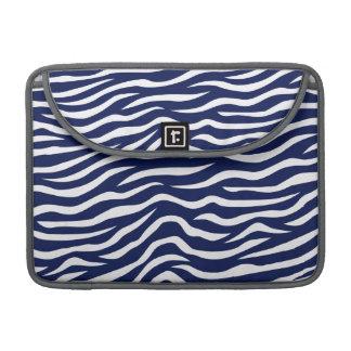 Navy Blue and White Animal Print Zebra Stripes MacBook Pro Sleeves