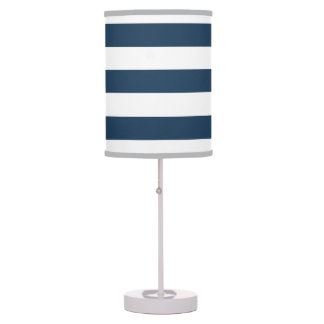 Navy Blue and White Bold Stripes Table Lamp