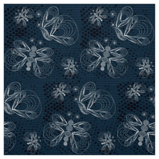 Navy blue and white butterfly, pattern fabric
