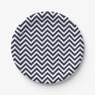 Navy Blue and White Chevron 7 Inch Paper Plate