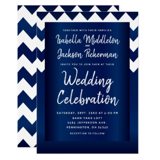 Navy Blue and White Chevron Card