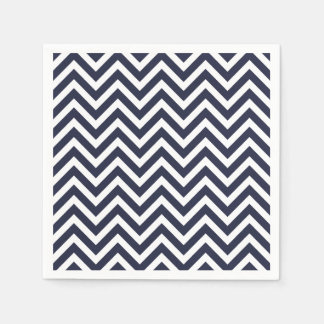 Navy Blue and White Chevron Paper Napkin