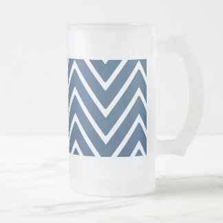 Navy Blue and White Chevron Pattern 2 Frosted Glass Beer Mug