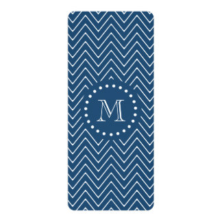 "Navy Blue and White Chevron Pattern, Your Monogram 4"" X 9.25"" Invitation Card"