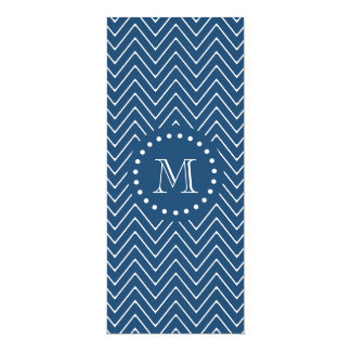 Navy Blue and White Chevron Pattern, Your Monogram 4x9.25 Paper Invitation Card