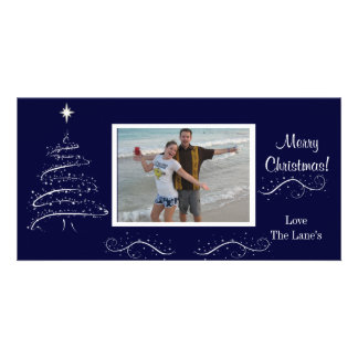 Navy Blue and White Christmas Photocard Card