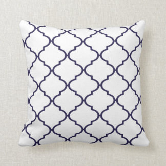 Navy Blue and White Classic Quatrefoil Pillow
