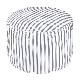 Navy Blue and White Classic Ticking Stripes Pouf