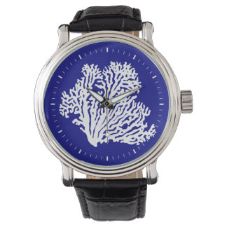 Navy Blue And White Coastal Coral Wristwatch