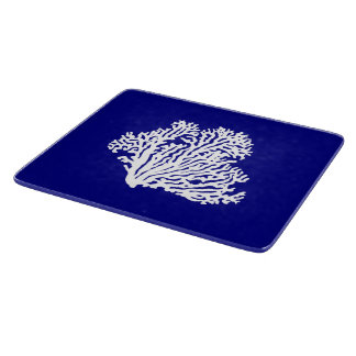Navy Blue And White Coastal Decor Coral Cutting Board