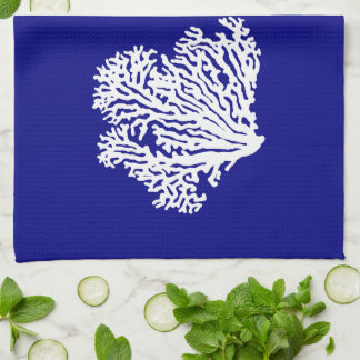 Navy Blue And White Coastal Decor Coral Kitchen Towels