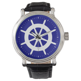 Navy Blue And White Coastal Helm Wrist Watch