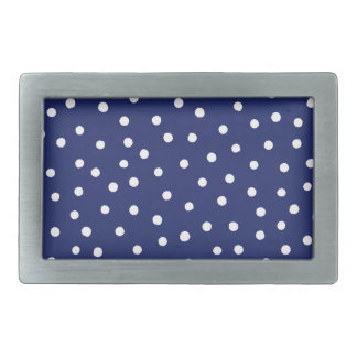 Navy Blue and White Confetti Dots Pattern Belt Buckle