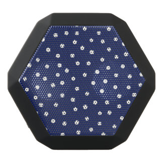 Navy Blue and White Confetti Dots Pattern Black Bluetooth Speaker