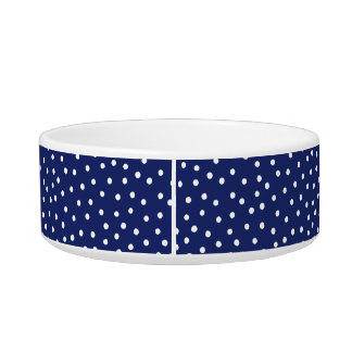Navy Blue and White Confetti Dots Pattern Bowl