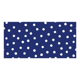 Navy Blue and White Confetti Dots Pattern Card