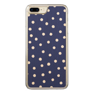 Navy Blue and White Confetti Dots Pattern Carved iPhone 8 Plus/7 Plus Case