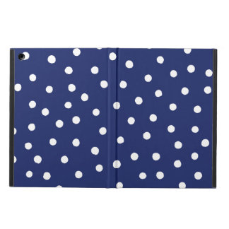 Navy Blue and White Confetti Dots Pattern Cover For iPad Air