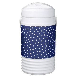 Navy Blue and White Confetti Dots Pattern Drinks Cooler