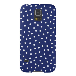 Navy Blue and White Confetti Dots Pattern Galaxy S5 Cases