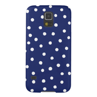 Navy Blue and White Confetti Dots Pattern Galaxy S5 Covers