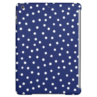 Navy Blue and White Confetti Dots Pattern iPad Air Cover