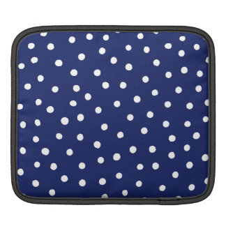 Navy Blue and White Confetti Dots Pattern iPad Sleeve
