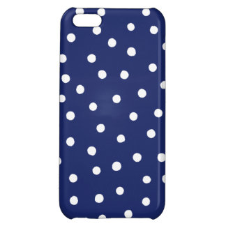 Navy Blue and White Confetti Dots Pattern iPhone 5C Covers