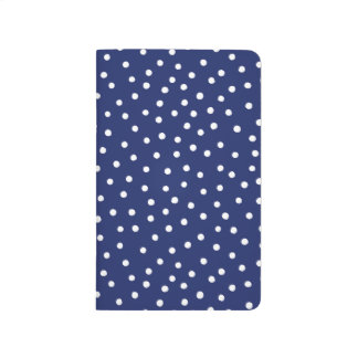 Navy Blue and White Confetti Dots Pattern Journal