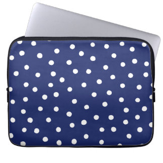 Navy Blue and White Confetti Dots Pattern Laptop Sleeve