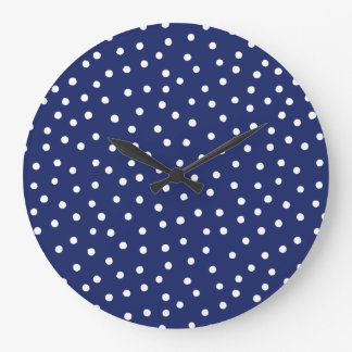 Navy Blue and White Confetti Dots Pattern Large Clock