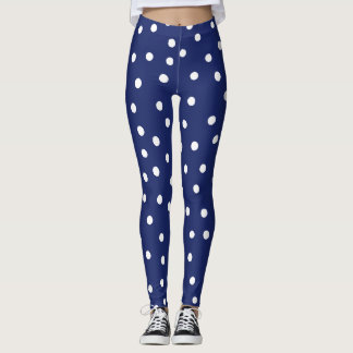 Navy Blue and White Confetti Dots Pattern Leggings