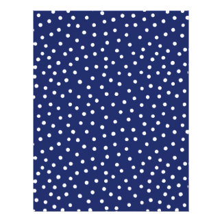Navy Blue and White Confetti Dots Pattern Letterhead