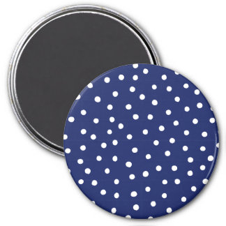 Navy Blue and White Confetti Dots Pattern Magnet