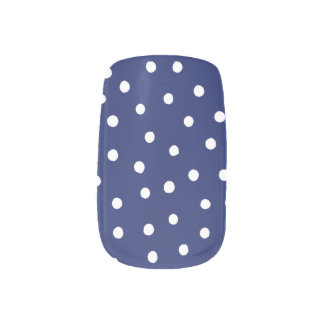 Navy Blue and White Confetti Dots Pattern Minx Nail Art