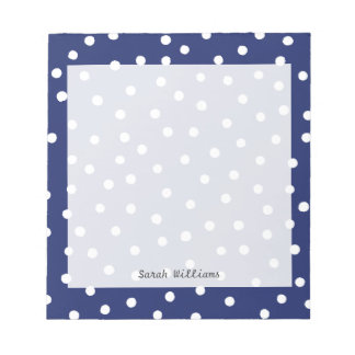Navy Blue and White Confetti Dots Pattern Notepad