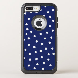 Navy Blue and White Confetti Dots Pattern OtterBox Commuter iPhone 8 Plus/7 Plus Case