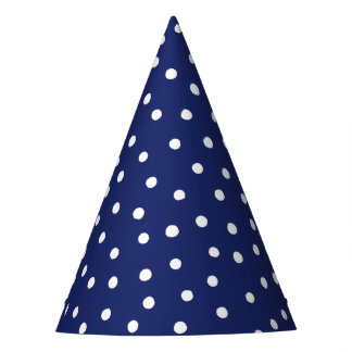 Navy Blue and White Confetti Dots Pattern Party Hat