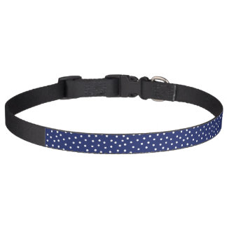 Navy Blue and White Confetti Dots Pattern Pet Collar